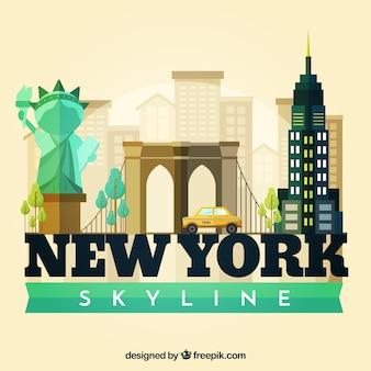 Horizonsilhouet van de stad van new york in vlakke stijl