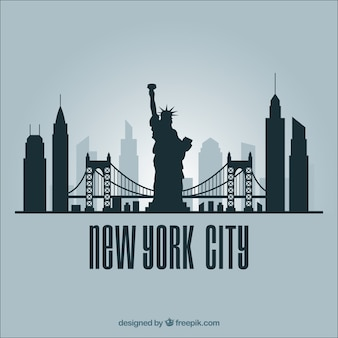 Horizonsilhouet van de stad van new york