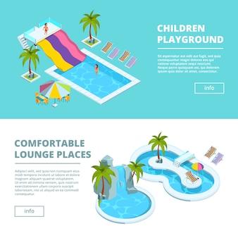 Horizontaal bannersmalplaatje met isometrische beelden van waterpark en kinderspeelplaatsen