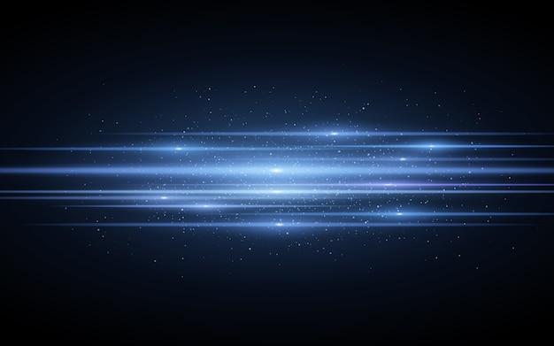 Horizontaal blauw lichteffect gemaakt van blauwe gloeiende neonlijnen. futuristisch scannereffect met sprankelende deeltjes. stijlvol beeldmateriaal voor uw project. .
