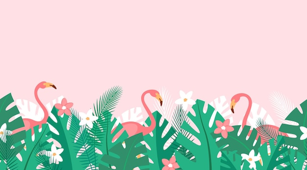 Horizontaal herhaald patroon met tropische planten, bloemen en roze flamingo's zomerachtergrond