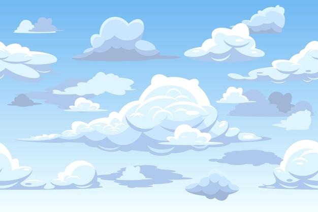 Horizontaal naadloos patroon met wolken