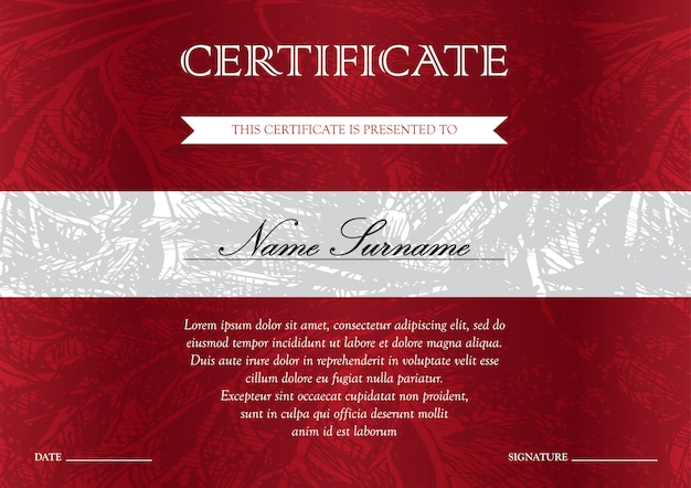 Horizontaal rood certificaat en diploma sjabloon met vintage, bloemen, filigraan