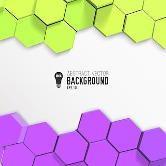 Horizontale abstracte achtergrond met gele en lila zeshoeken
