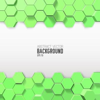 Horizontale abstracte composities met groene zeshoeken
