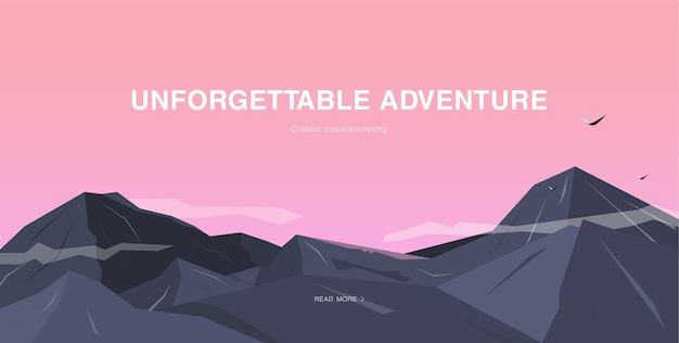 Horizontale afbeelding met bergen en lucht