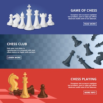 Horizontale banner die met van schaak wordt geplaatst