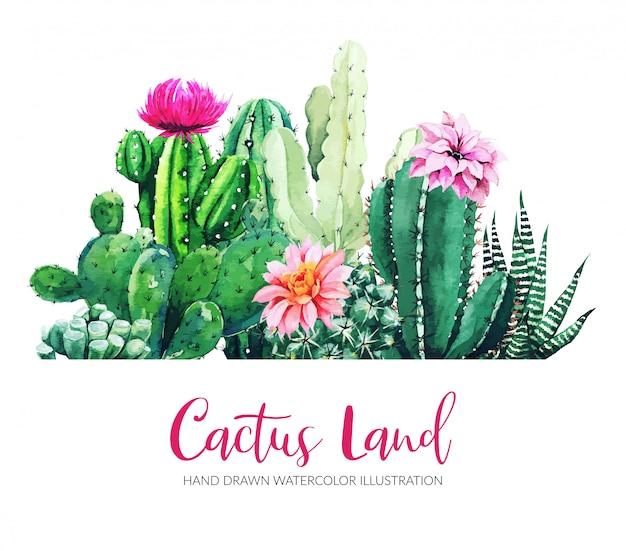 Horizontale banner met aquarel cactus en vetplanten
