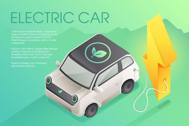 Horizontale banner met de elektrische auto bij laadstation in bliksemvorm milieuvriendelijke kunst