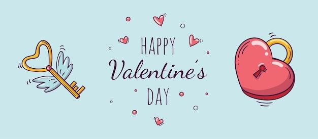 Horizontale banner met hartvormig rood slot en vliegende gouden sleutel met vleugels in doodle stijl voor valentijnsdag.