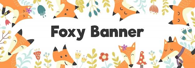 Horizontale banner met schattige vossen en planten banner achtergrond