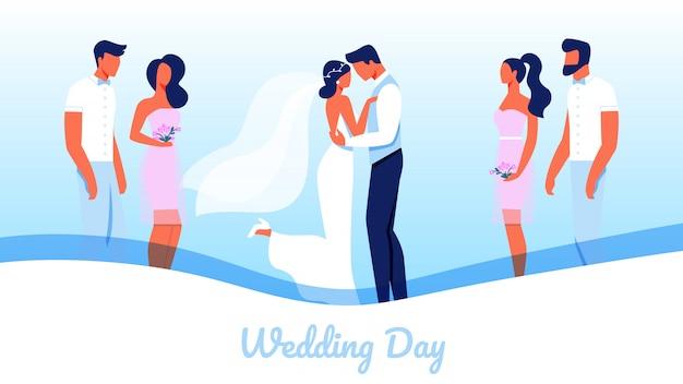 Horizontale banner met trouwdag, huwelijksceremonie
