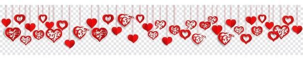 Horizontale banner met veel rode hangende papieren volumeharten met krullen en zonder, op transparante achtergrond