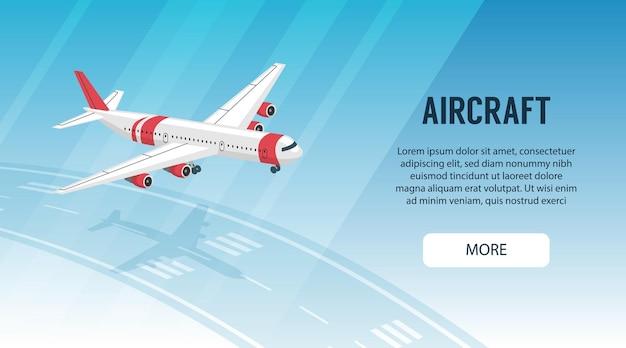 Horizontale banner met vliegtuig dat boven de startbaan van de luchthaven vliegt