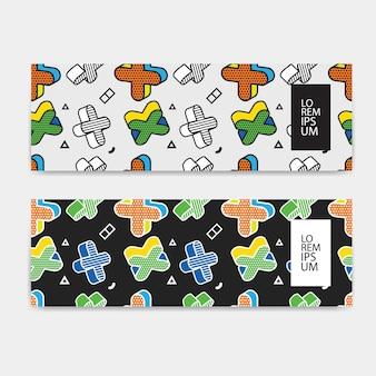 Horizontale banner set, horizontale oriëntatie, sjabloon kleurrijk patroon met 3d-afbeeldingen in pop-art stijl.