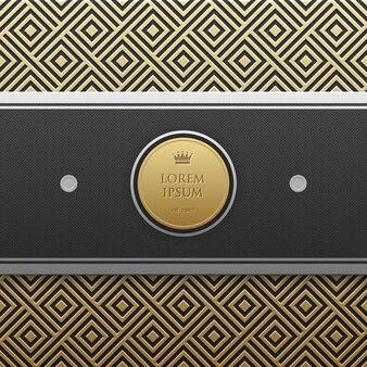 Horizontale banner sjabloon op gouden metallic achtergrond met naadloze geometrische patroon. elegante luxe stijl.