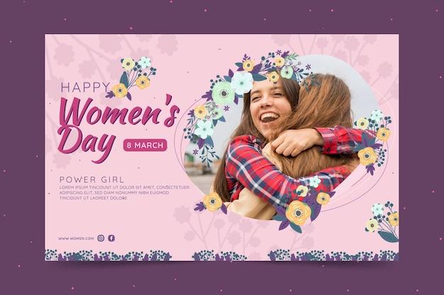 Horizontale banner voor internationale vrouwendag met vrouwen en bloemen