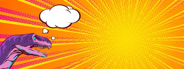 Horizontale banner voor productpresentatie in pop-artstijl en klantreactie. komische illustratie met een pratende dinosauruskop vectorillustratie