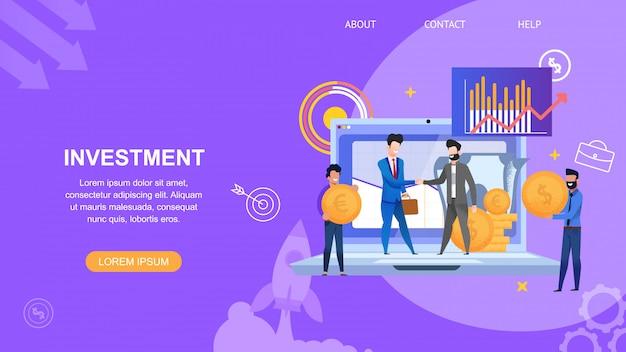 Horizontale bannerinvestering en mensen in pak maken contract voor project