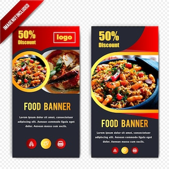 Horizontale bannerontwerp met voedselkorting