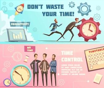 Horizontale banners in retro-cartoonstijl met tijdsbeheer, inclusief effectieve planning en productiviteit