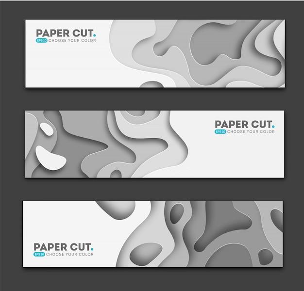 Horizontale banners met 3d-abstracte achtergrond