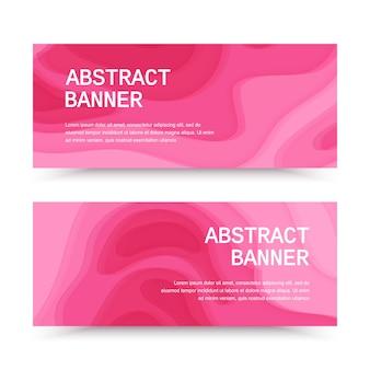 Horizontale banners met 3d abstracte roze achtergrond met papier gesneden vormen