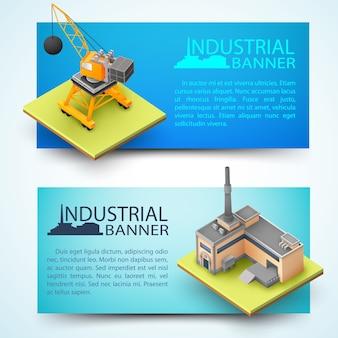 Horizontale banners met apparatuur voor sloop en fabriek