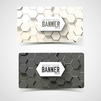 Horizontale banners met frames en patronen van 3d-zeshoeken