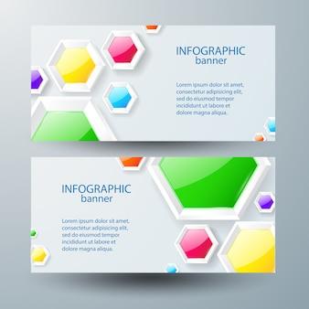 Horizontale banners met tekst en kleurrijke glanzende zeshoeken Gratis Vector