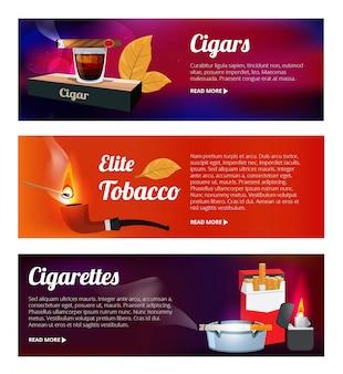 Horizontale banners met waterpijp, sigaretten en verschillende hulpmiddelen voor rokers
