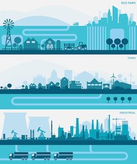 Horizontale banners skyline kit met verschillende delen van de stad - fabrieken, raffinaderijen, energiecentrales en kleine steden of voorsteden. illustratie verdeeld over lagen om een parallax-effect te creëren