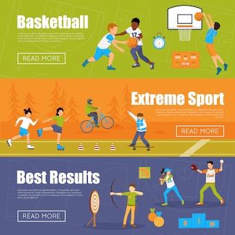 Horizontale banners van kinderen sport