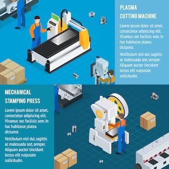 Horizontale banners van mechanische fabrieken