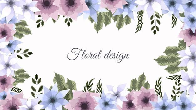 Horizontale bloemenbannerachtergrond versierd met vrolijke bloemen