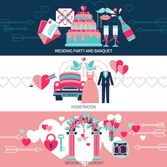 Horizontale bruiloft banners