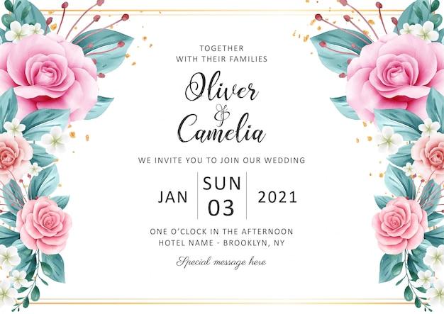 Horizontale bruiloft uitnodiging kaartsjabloon ingesteld met aquarel bloemen zich verwaardigen en goud glitter