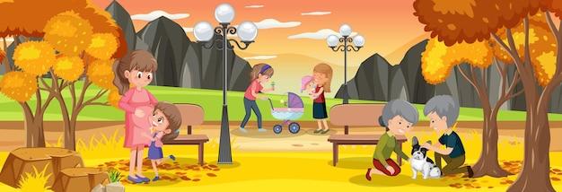 Horizontale buitenscène met mensen in het park