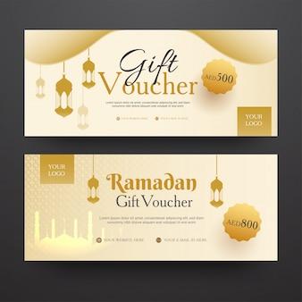 Horizontale cadeaubon set met de beste kortingsaanbieding voor ramadan