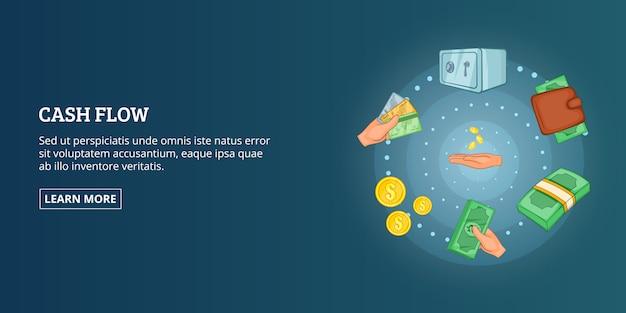 Horizontale cashflowbanner, beeldverhaalstijl