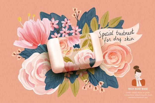 Horizontale cosmeticasjabloon van een groot realistisch model met rozenzeep