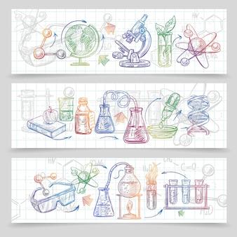 Horizontale de schetsbanners van de chemie die met microscoop en glazen worden geplaatst