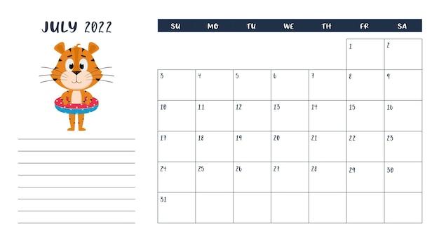 Horizontale desktopkalenderpaginasjabloon voor juli 2022. tijger staat met een reddingsboei