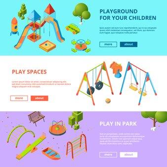 Horizontale die banners met kinderenspeelplaats worden geplaatst