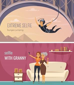 Horizontale die banners van selfie met extreme en familie selfie symbolen vlak geïsoleerde vectorillustratie worden geplaatst