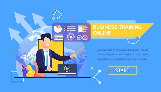 Horizontale flat banner bedrijfsopleidingen online.