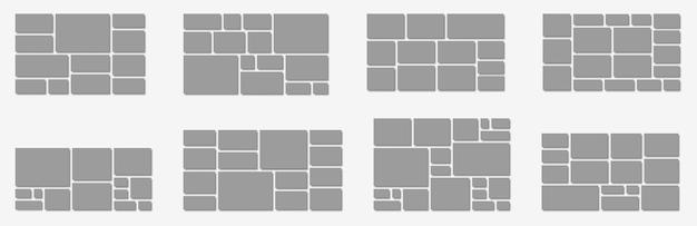 Horizontale fotocollage-indeling. frames fotodelen, foto of bedrijfsafbeeldingen voor board en branding presentatie portfolio vector mockup. portfolio-collagecombinatie, lege galerijillustratie