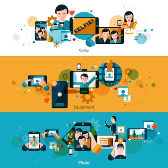 Horizontale geplaatste banners van mobiele foto's