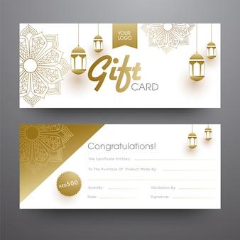 Horizontale geschenk kaart of spandoekontwerp met hangende gouden lanter