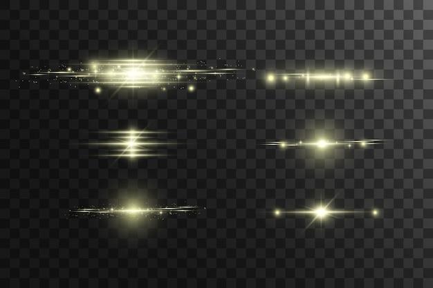 Horizontale gloed. laser horizontale stralen, lichtstralen. heldere strepen op een donkere achtergrond.